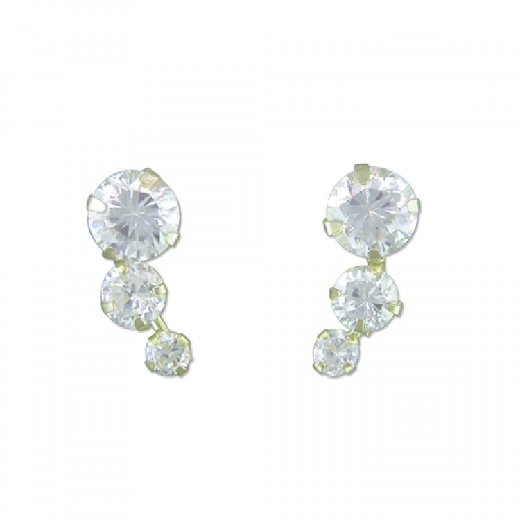 Three cubic zirconia curve stud