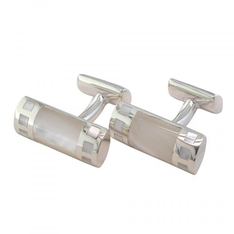 Fancy mother of pearl bar cufflinks