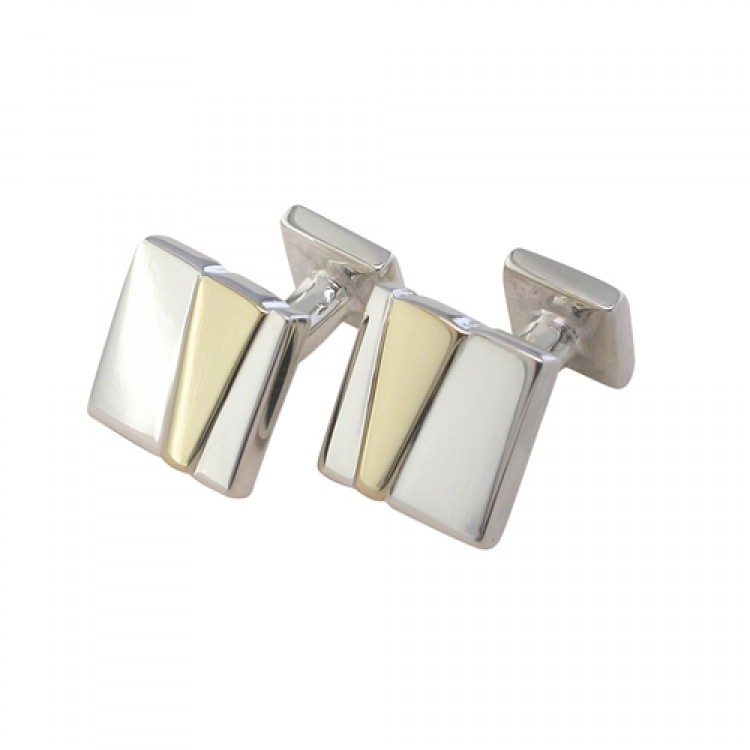 Gold wedge on silver cufflinks