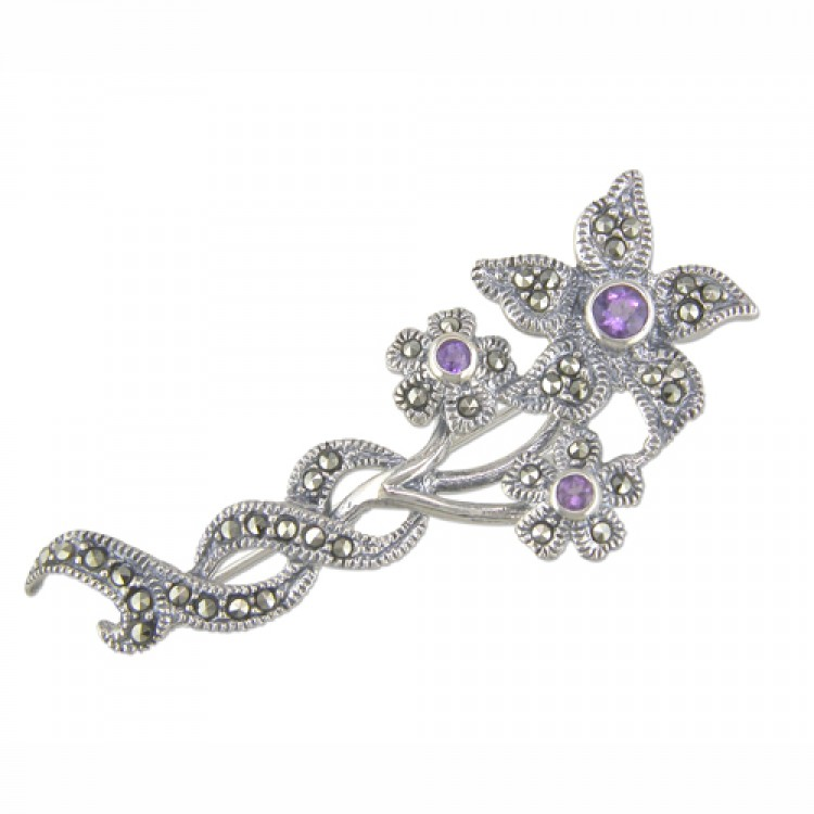 Entwined amethist mercasite flower