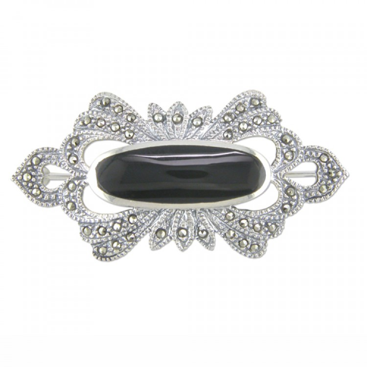 Fancy mercasite oval onyx