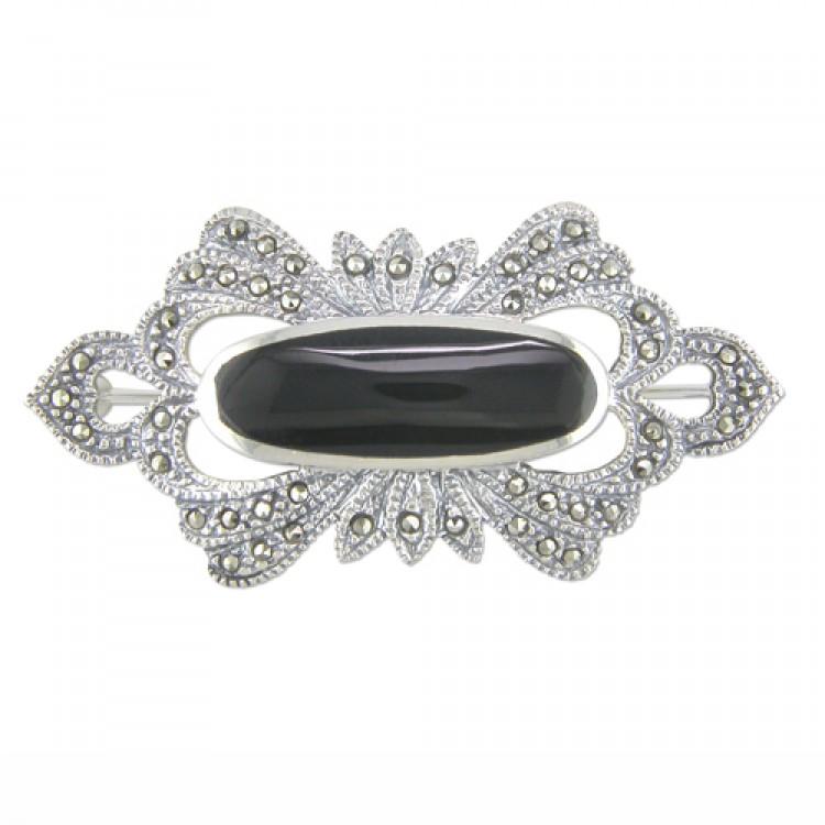 Fancy mercasite oval onyx