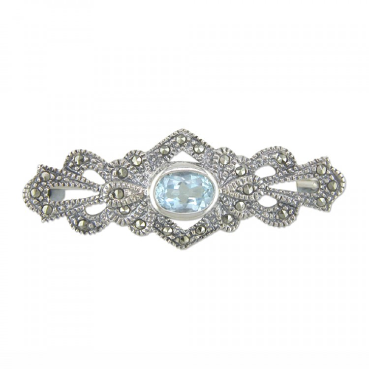 Fancy blue topaz mercasite bar