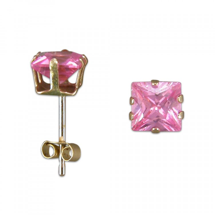 5mm pink cubic zirconia square stud