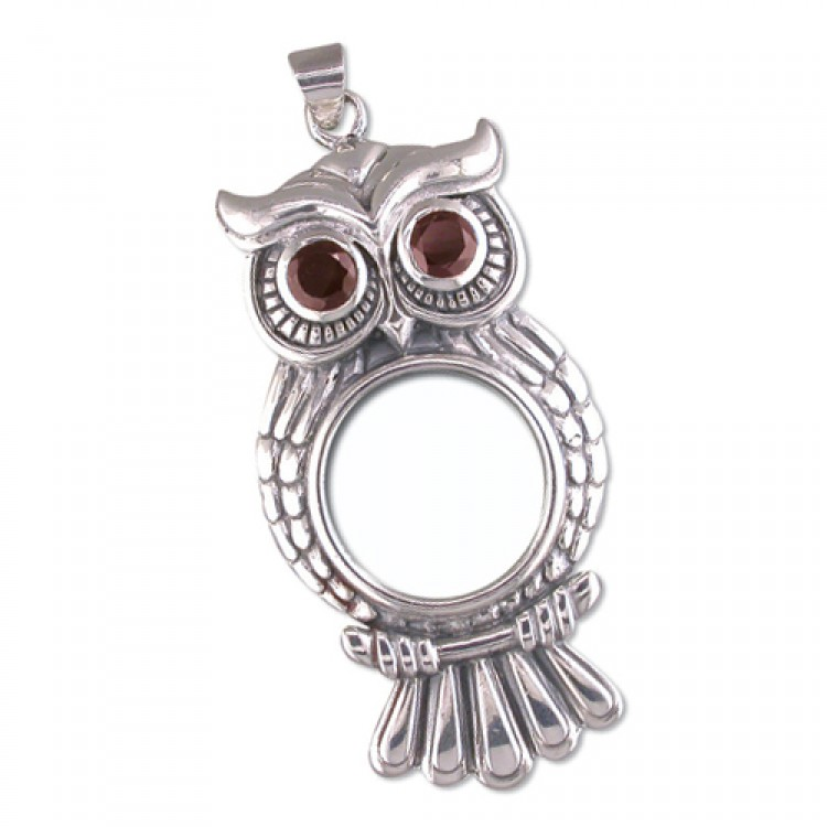 Garnet eyed owl magnifying glass