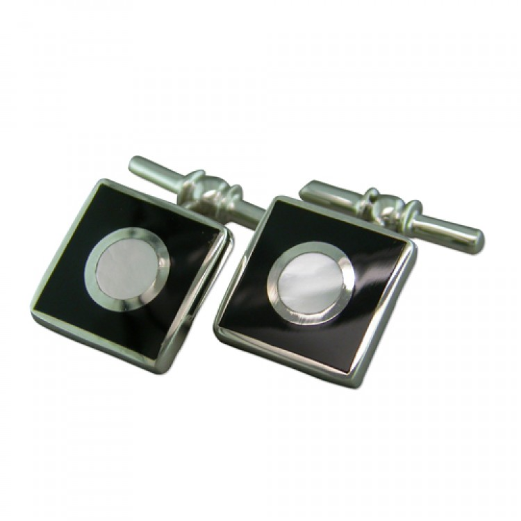 White mother of pearl circle -black square cufflinks