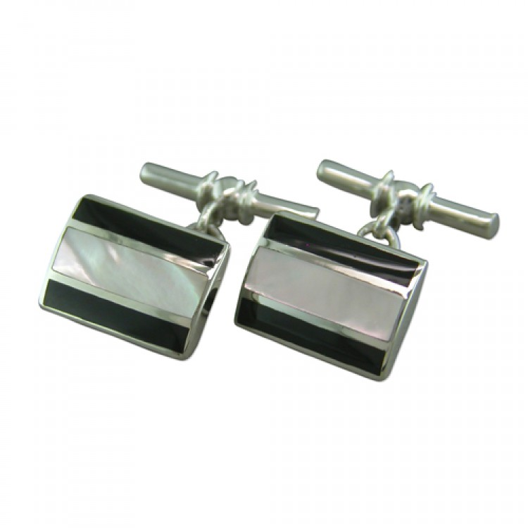 White mother of pearl stripes oblong cufflinks