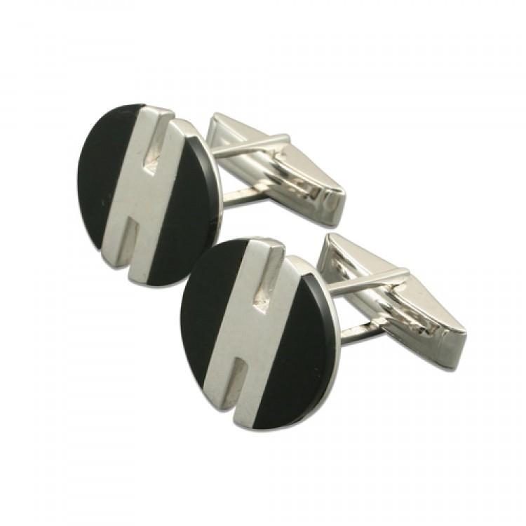 Round onyx-silver stripe cufflinks