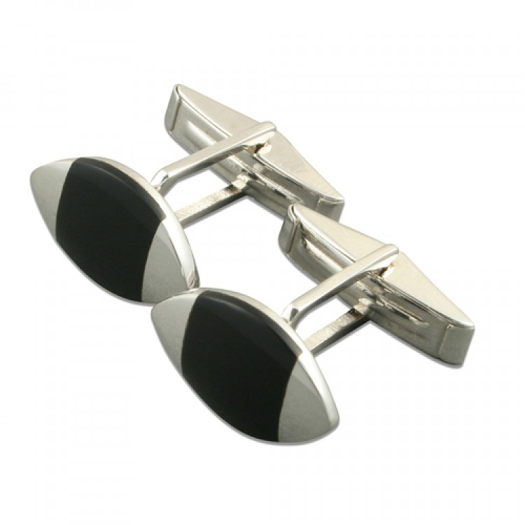 Silver tipped marquis onyx cufflinks