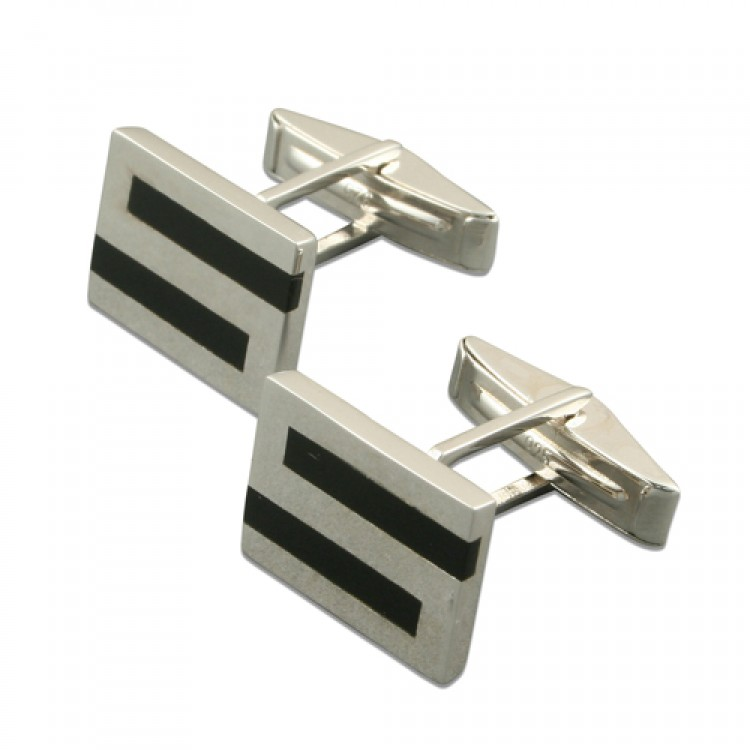 Onyx filled square S cufflinks