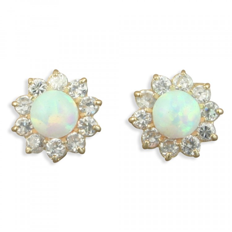 Synthetic opal with cubic zirconia cluster stud