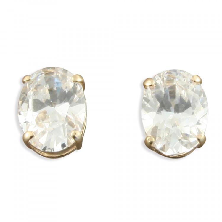 Large oval cubic zirconia stud