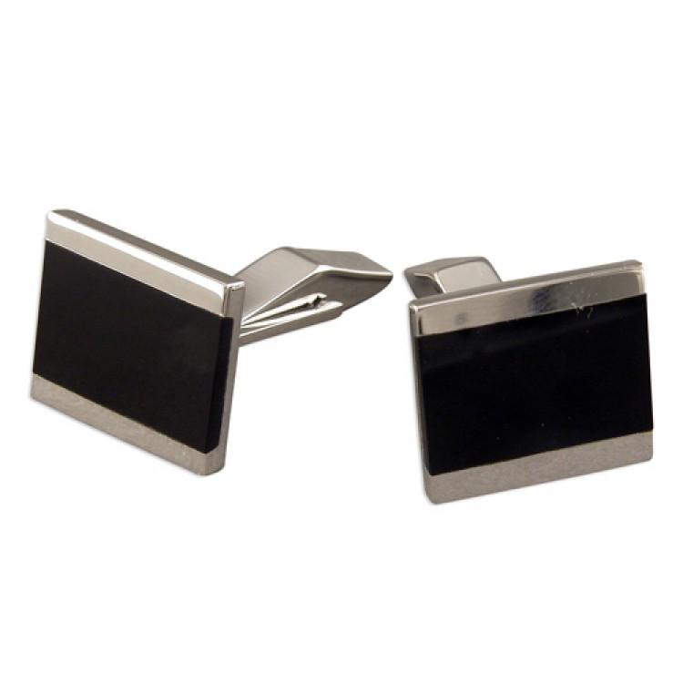 Silver lined onyx cufflinks