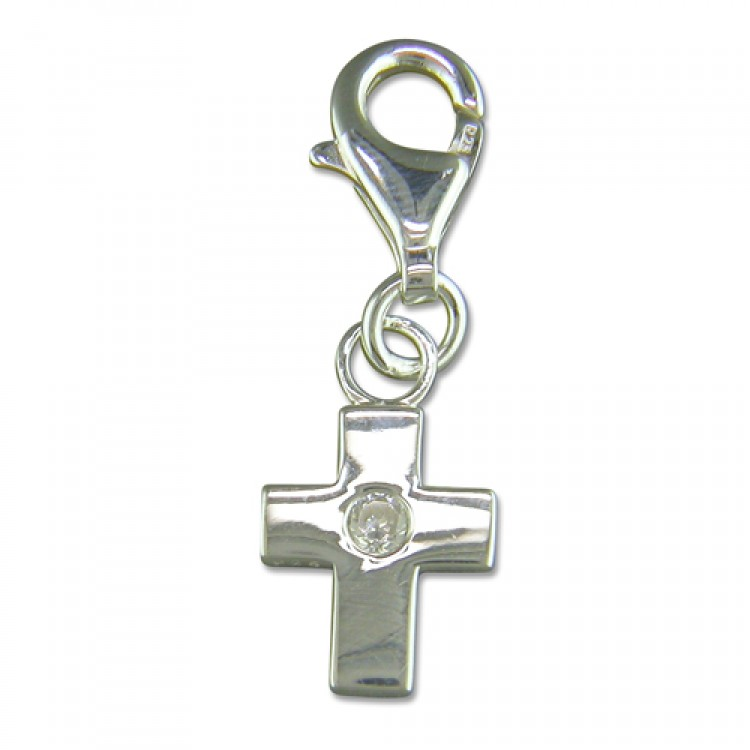 Clip on cubic zirconia set cross