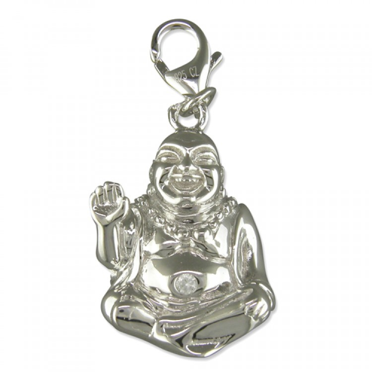 Clip on buddha with cubic zirconia belly button