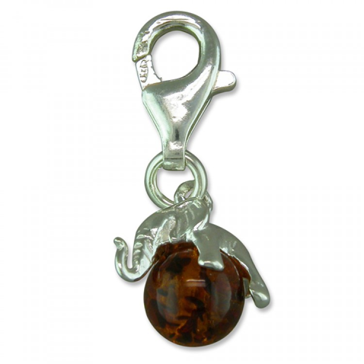 Clip on cognac amber elephant