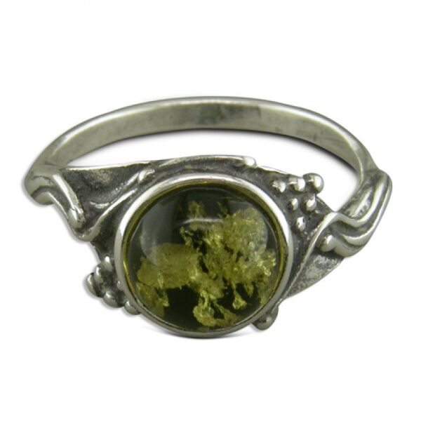 Round green amber with grapes