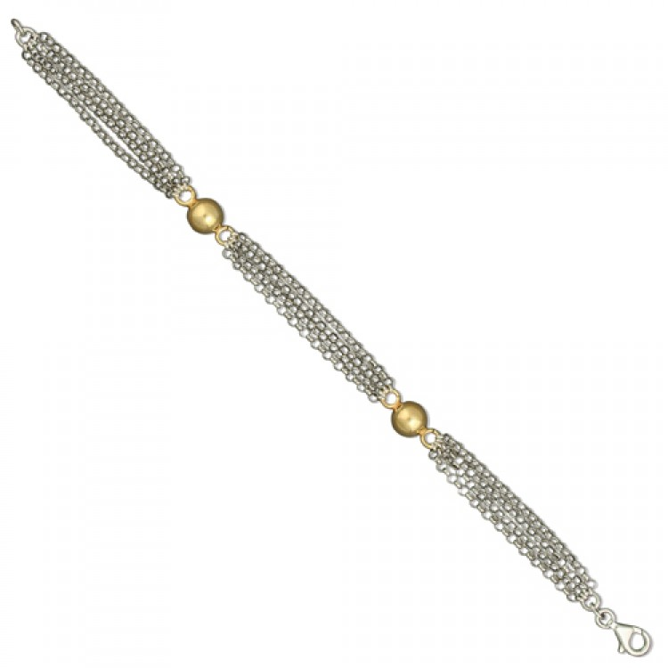 20cm/8in with two gold on silver beads