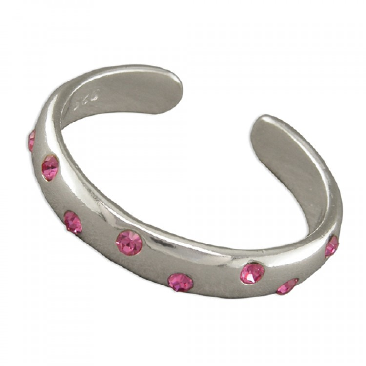 Plain band with pink crystals