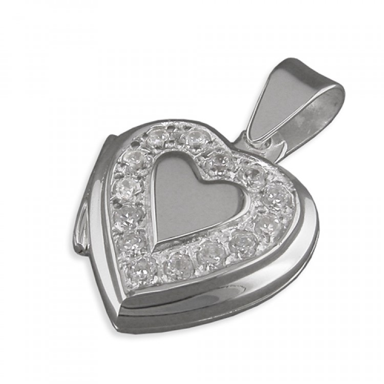 Cubic zirconia surround heart