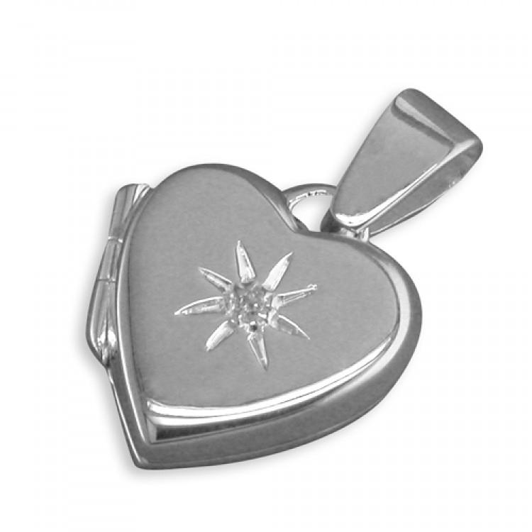 Cubic zirconia starbusrt plain heart