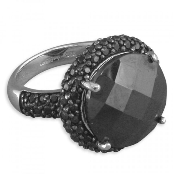 Large round black facetted cubic zirconia cluster