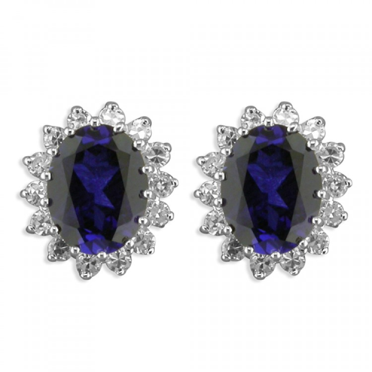 Synthetic sapphire whie cubic zirconia oval cluster stud