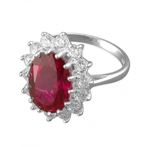 Synthetic ruby white cubic zirconia large ovel cluster
