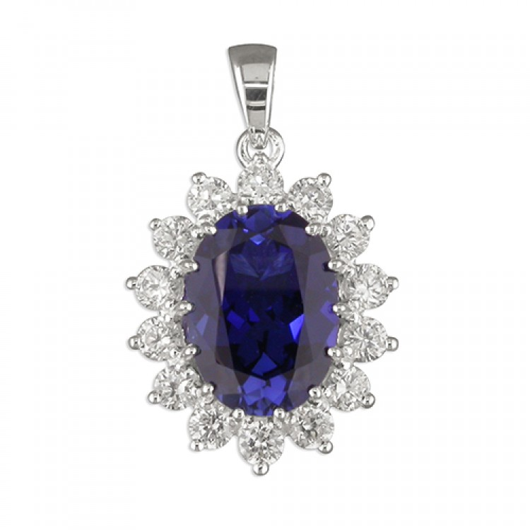Large oval synthetic sapphire white cubic zirconia cluster