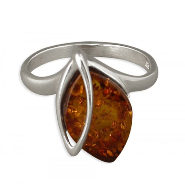 Cognac amber with open leaf overlay