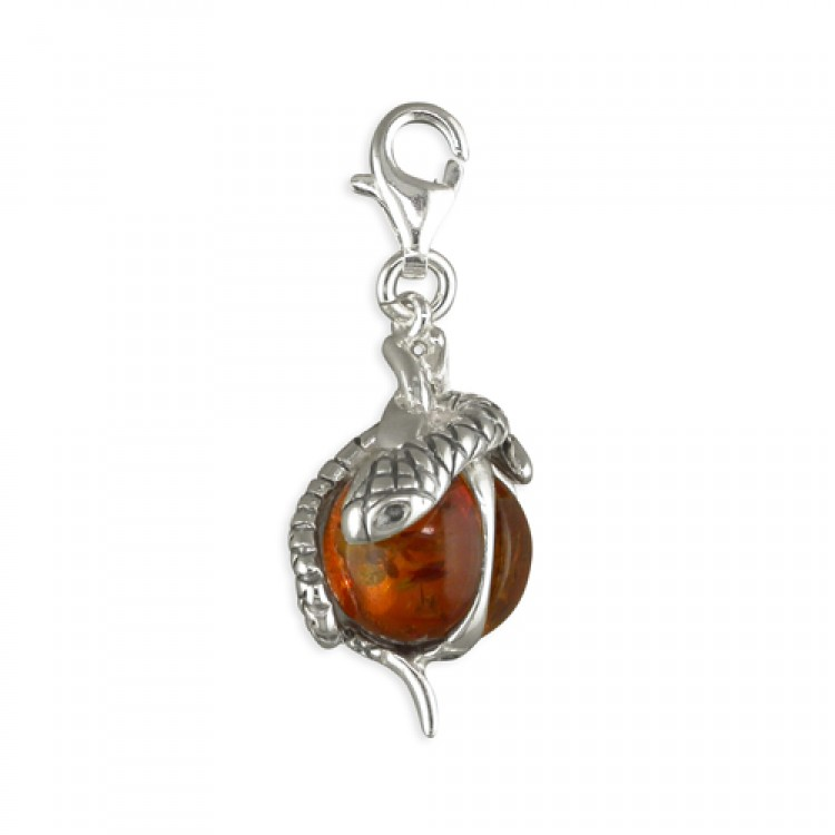 Clip on cognac amber bead with snake