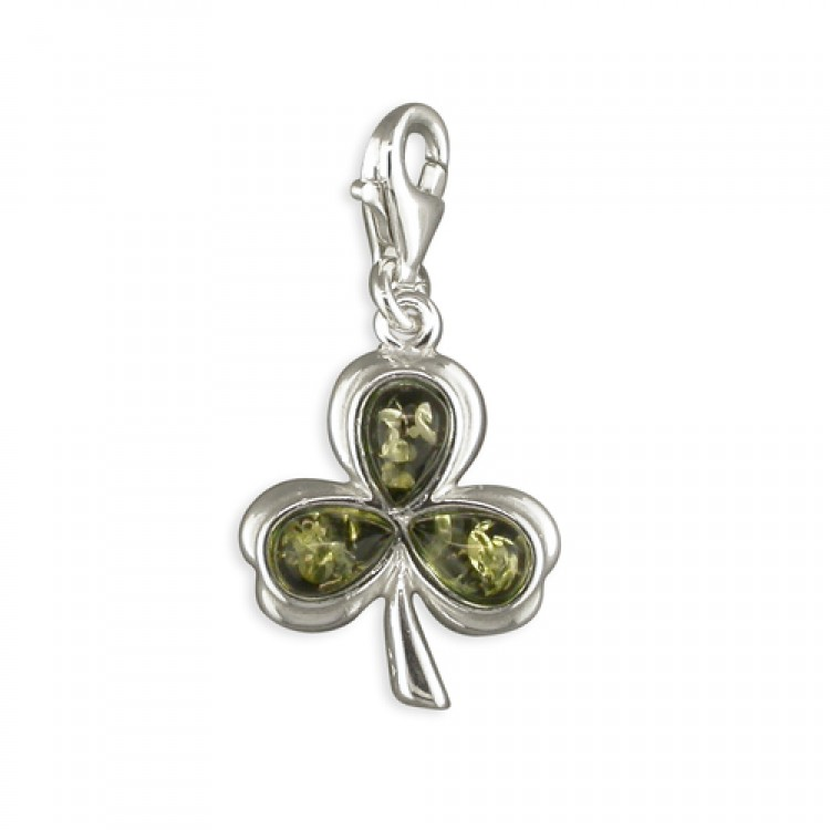 Clip on green amber shamrock