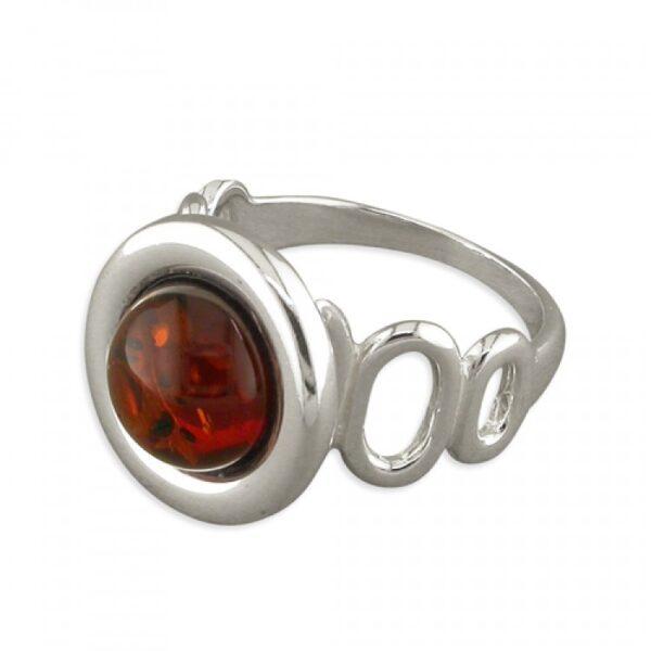 Cognac amber framed bead with cutout ovals shank