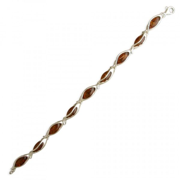 Cognac amber beads in arch framed cages