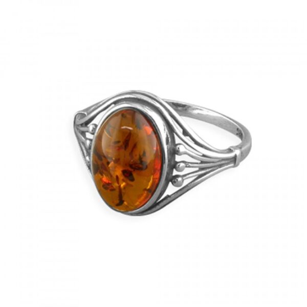 Cognac amber oval with ribbed shoulders