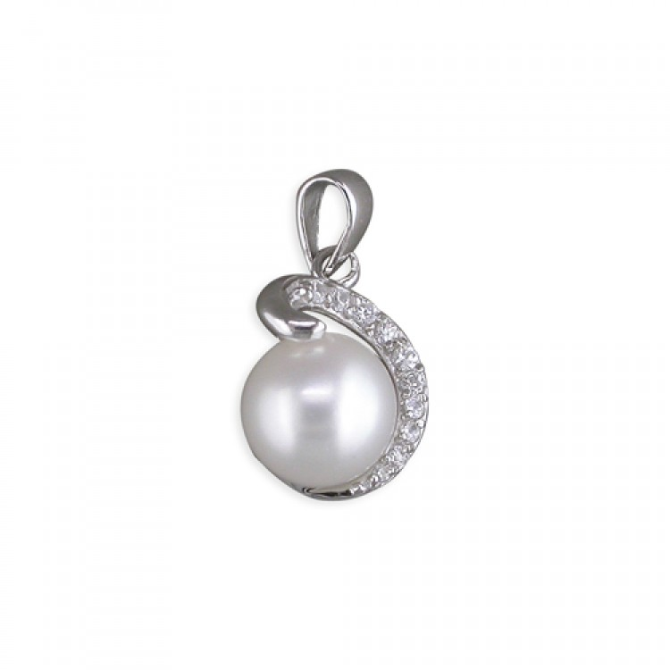 Fresh water pearl with cubic zirconia coil