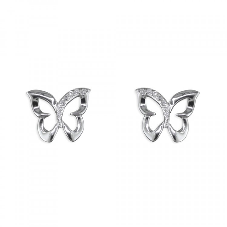 Cubic zirconia outline butterfly stud