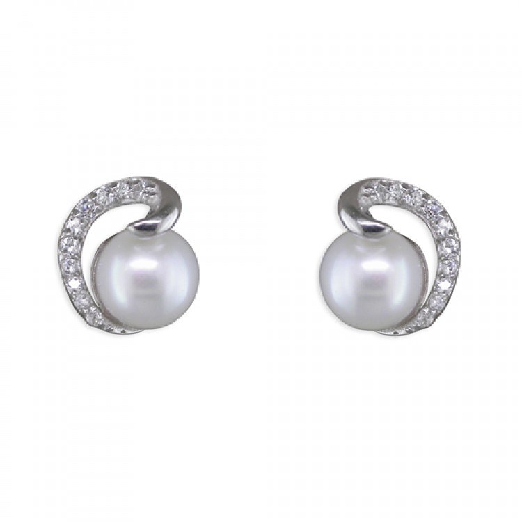 Fresh water pearl with cubic zirconia coil stud