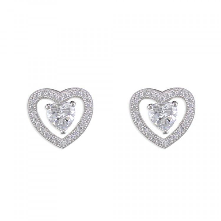 Cubic zirconia heart in pave heart stud