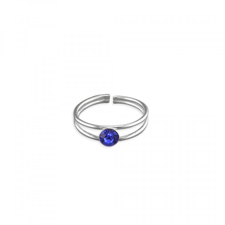 Crystal dot in fine split band assorted colours