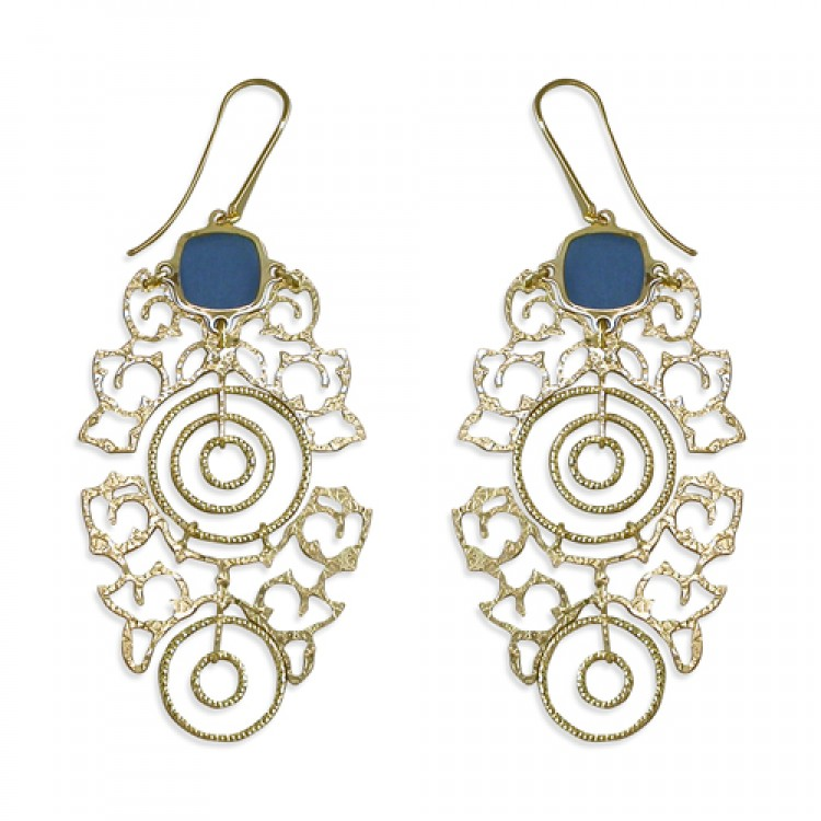Blue lace in gold plated laser cut lace hook in drop