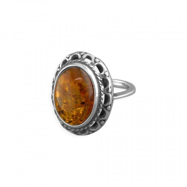 Cognac amber fancy rimmed oval