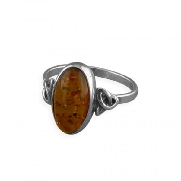 Cognac amber oval with celtic shoulders