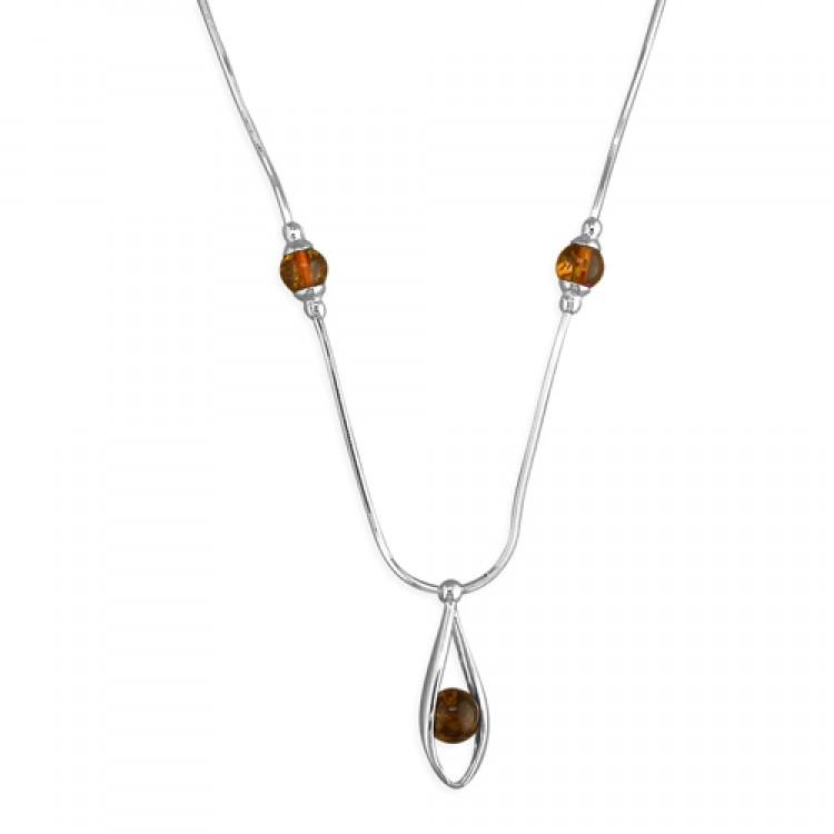 Cognac amber bead in teardrop drop