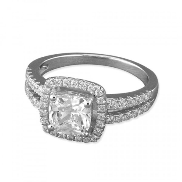 Cubic zirconia square halo with pave shoulders