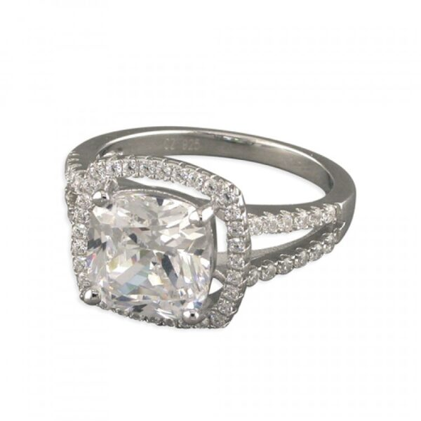 Cubic zirconia large square halo with pave shoulders