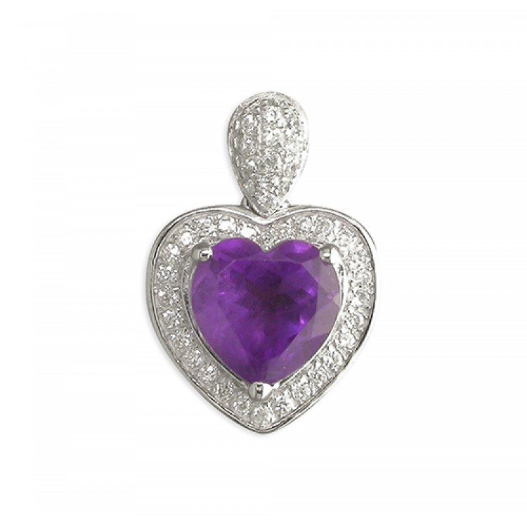 Heart shaped amethist with cubic zirconia halo