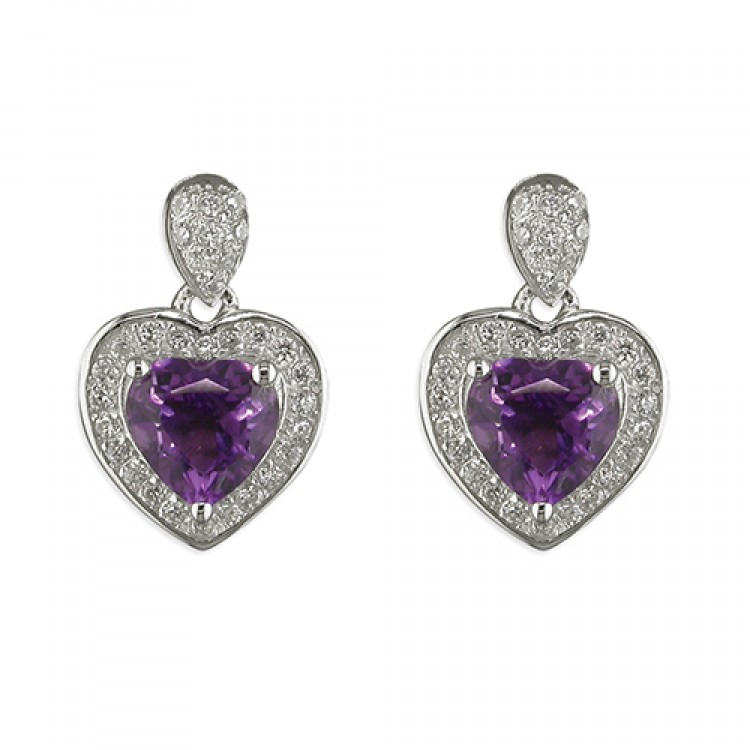 Heart shaped amethist with cubic zirconia halo drop