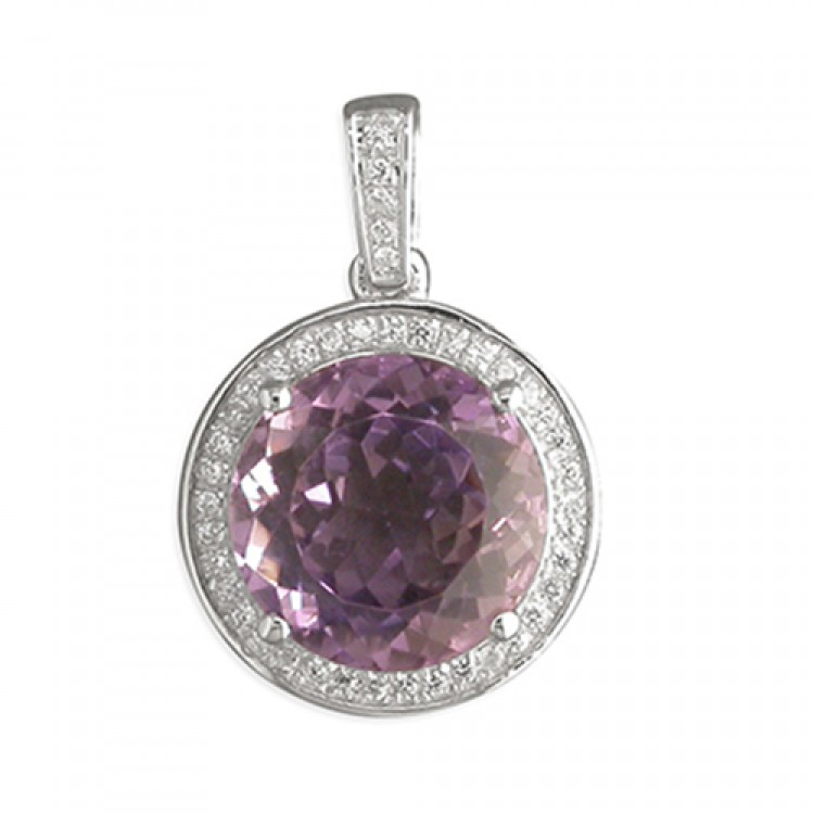 Large round amethist with cubic zirconia halo
