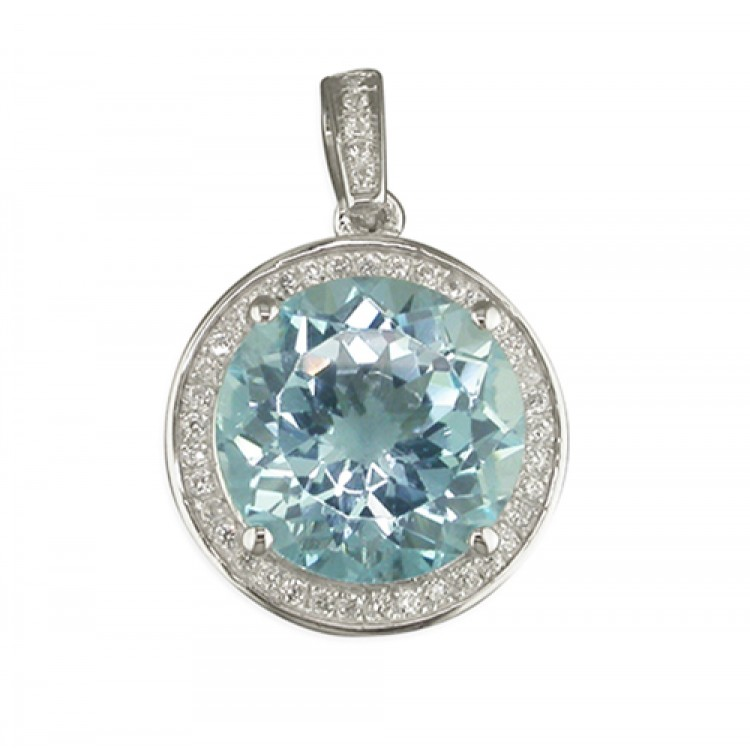 Large round blue topaz with cubic zirconia halo